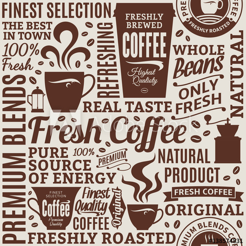 picture freeuse stock Vector coffee typography. Typographic shop seamless pattern