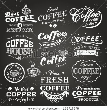 picture free Vector coffee typography. Collection of shop sketches