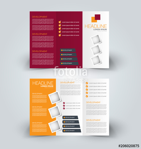 clip art royalty free library Vector color brochure. Tri fold design creative