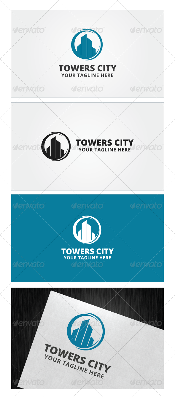 svg royalty free library Towers logo template by. Vector color city