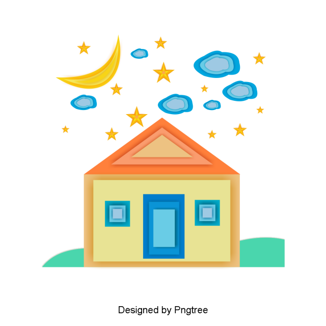 clip library stock Vector color creative. Lovely cartoon dream house