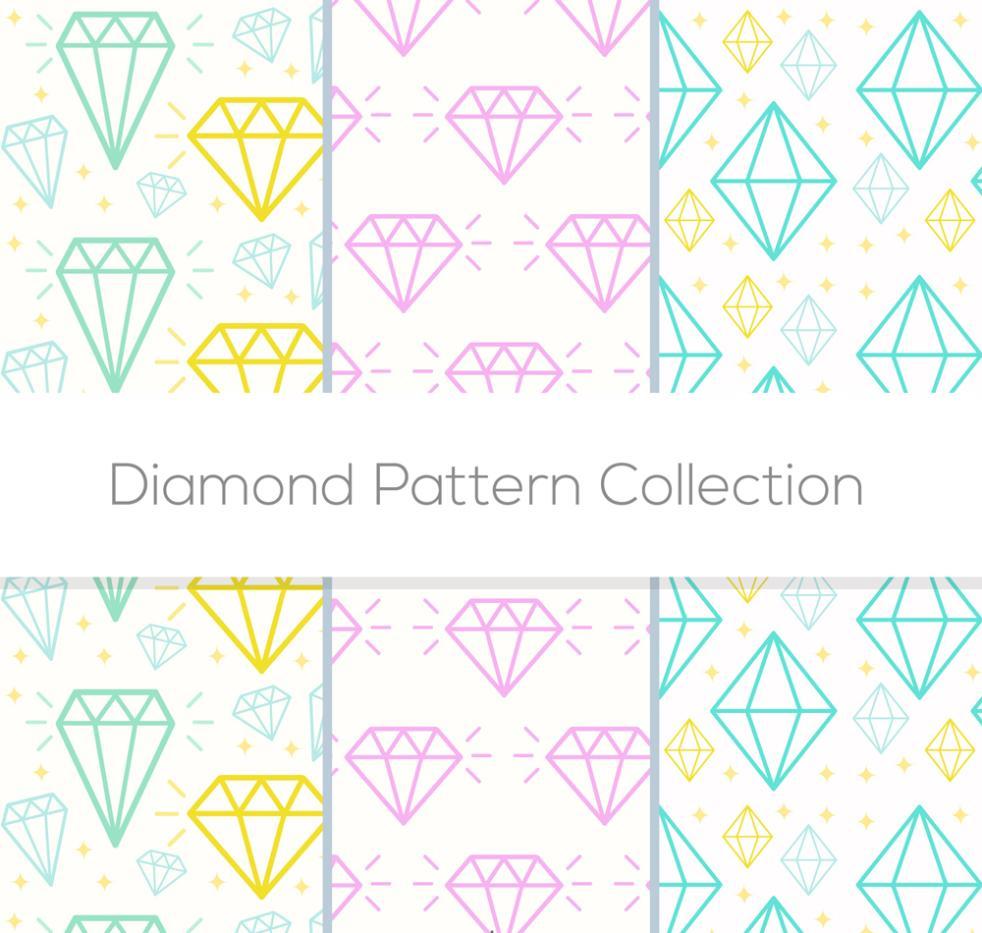 black and white stock Vector color diamond. Three seamless background diamonds