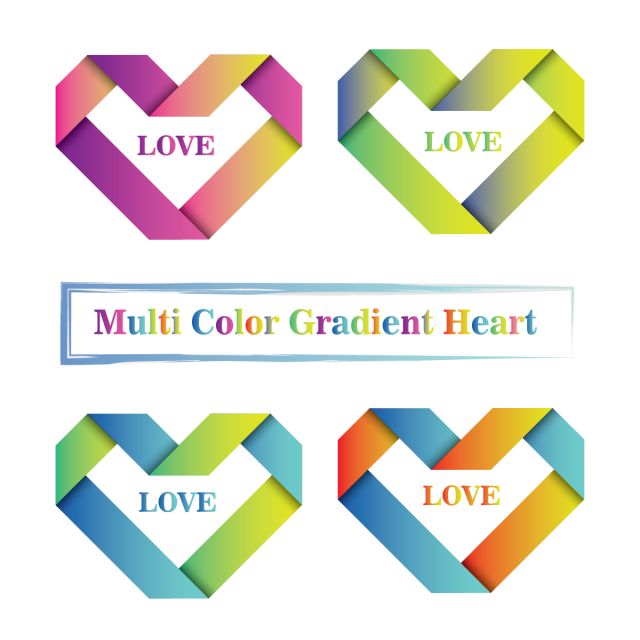svg black and white stock Vector color gradient. Four beautiful heart with