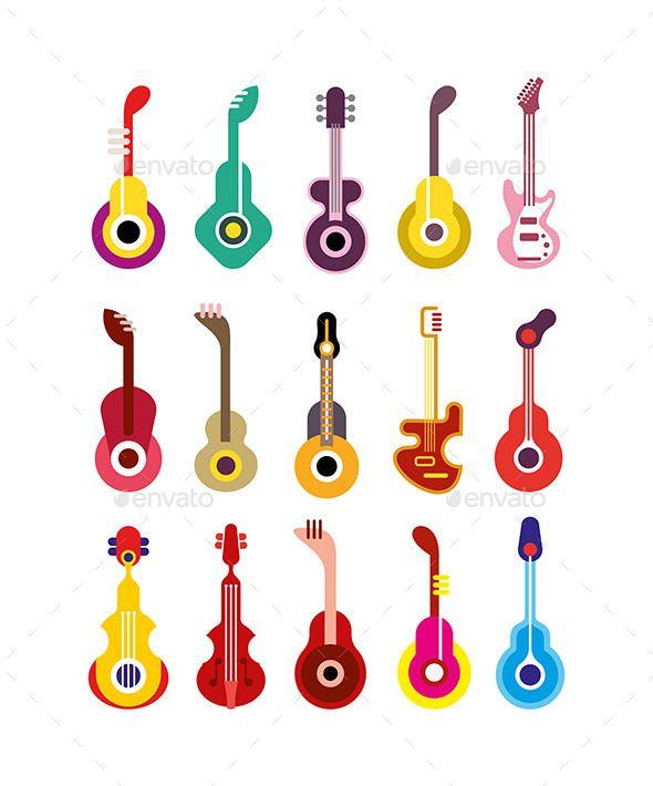 clipart freeuse download Vector color guitar. Guitars c set of