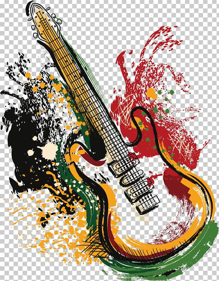 png royalty free download Vector color guitar. Electric grunge poster png