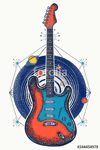 svg royalty free And universe t shirt. Vector color guitar