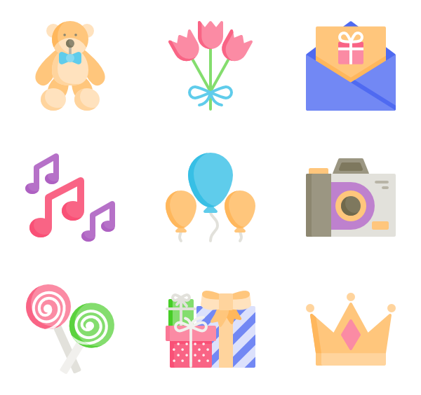 clip art freeuse library Vector color happy. Icons free birthday