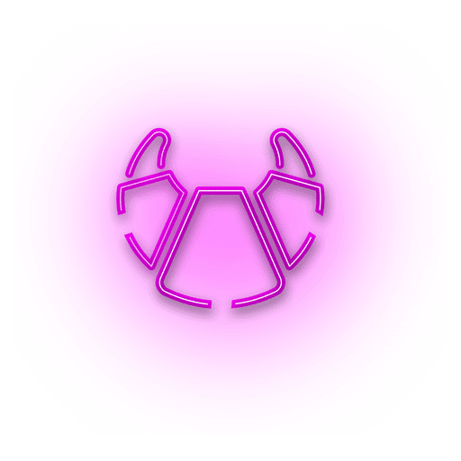 clipart black and white stock Vector color neon. Pink croissant icon transparent