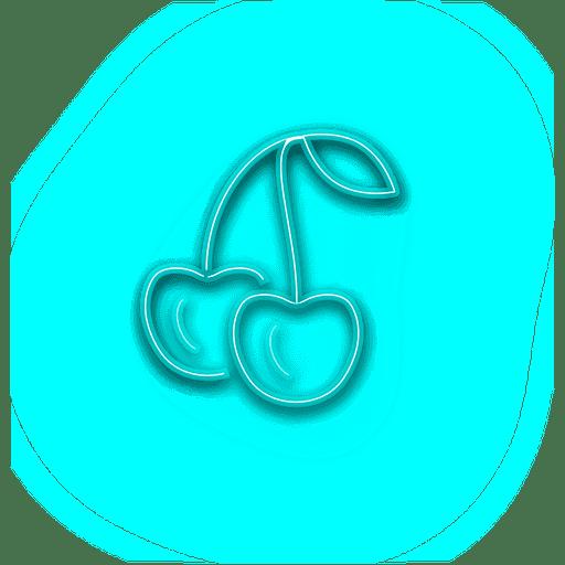 stock Vector color neon. Blue cheery icon transparent