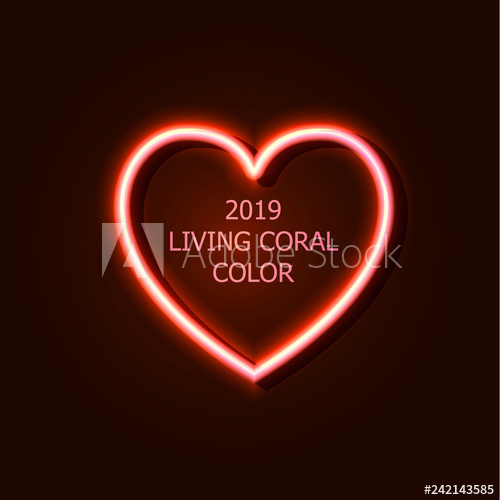 black and white stock Vector color neon. Living coral heart design