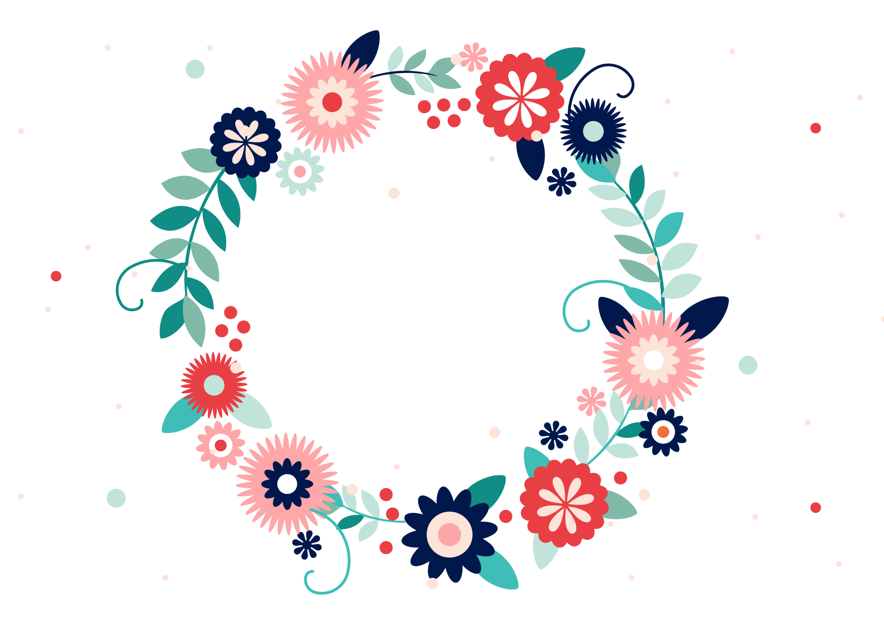 vector stock Typography flower wreath colorful. Vector color ornament