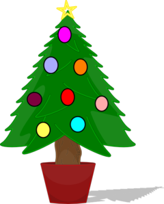 clipart library stock Christmas tree with rainbow. Vector color ornament