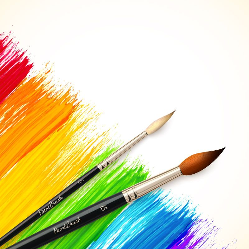 freeuse stock Paint brush in watercolor. Vector color painting
