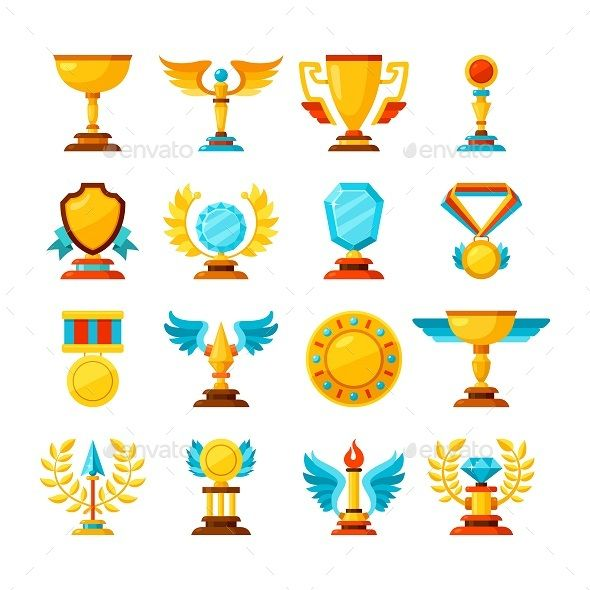 png black and white library Vector color school. Trophy and awards icons