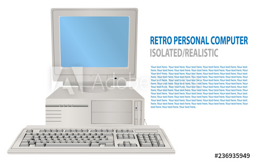 svg library Illustration of isolated realistic. Vector computer 80's