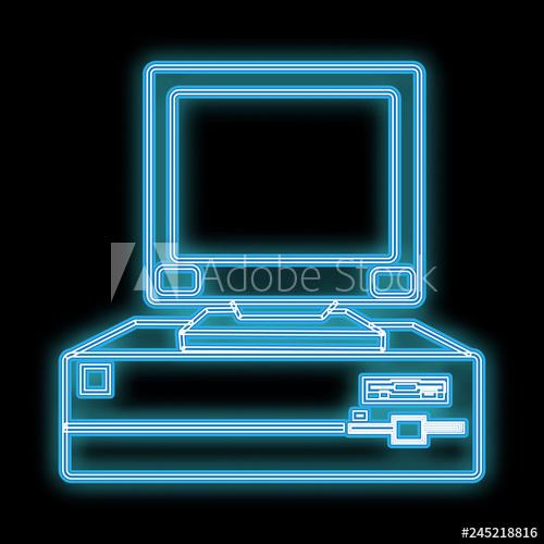jpg transparent download Vector computer 80's. A beautiful blue bright