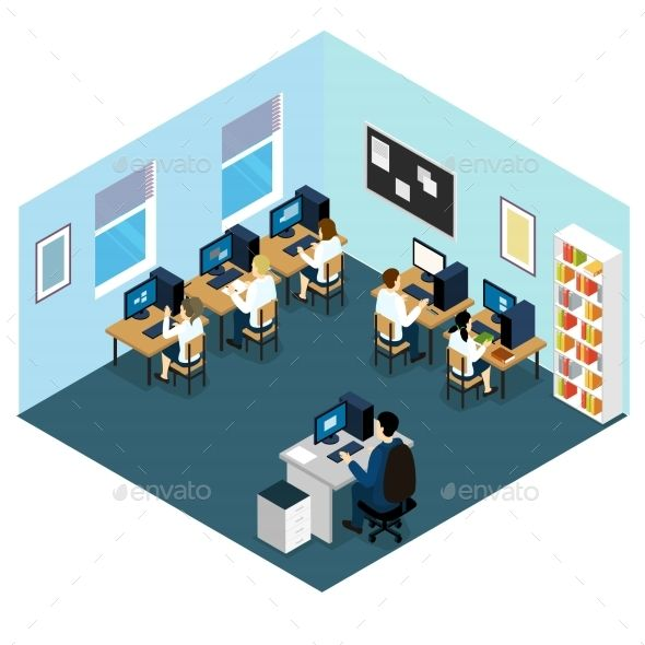 svg freeuse Isometric layout with children. Vector computer class room