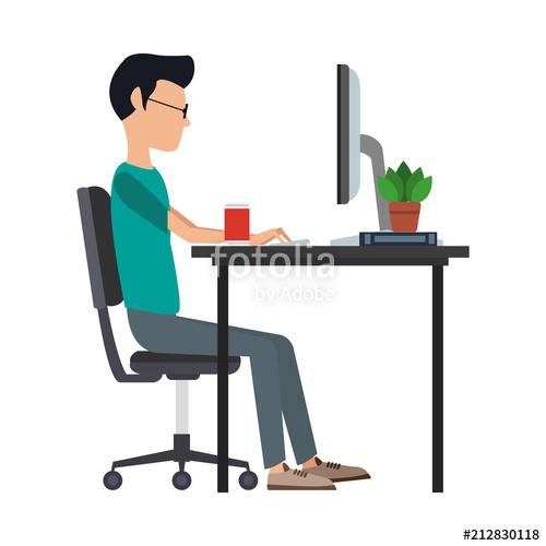 jpg stock Vector computer graphic designer. Young man working with