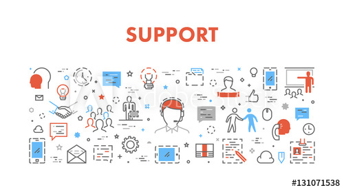 image black and white download Line concept for support. Vector computer helpdesk