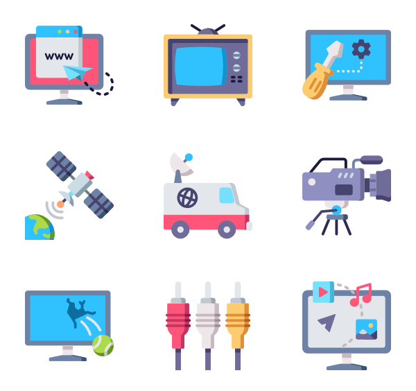 clip art library download Vector computer illustrator. Screen icons free television