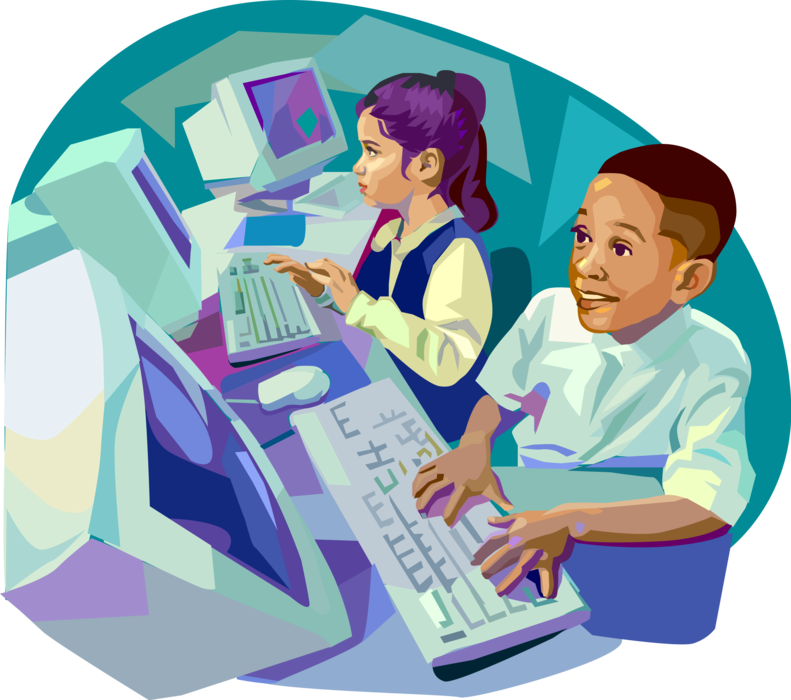 royalty free In science class surf. Vector computer kids