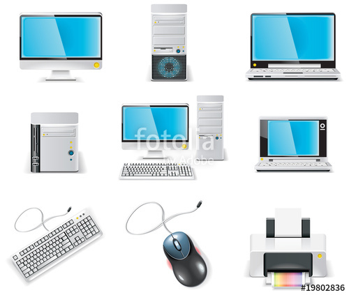 svg library download Vector computer part. White icon set pc