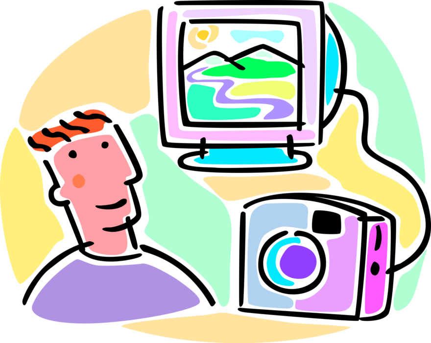 svg freeuse download Digital Camera Connected to Computer