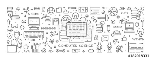 clip royalty free stock Vector computer science. Line concept for stock
