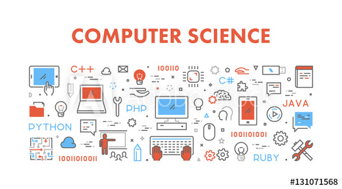jpg library download Vector computer science. Line web concept for