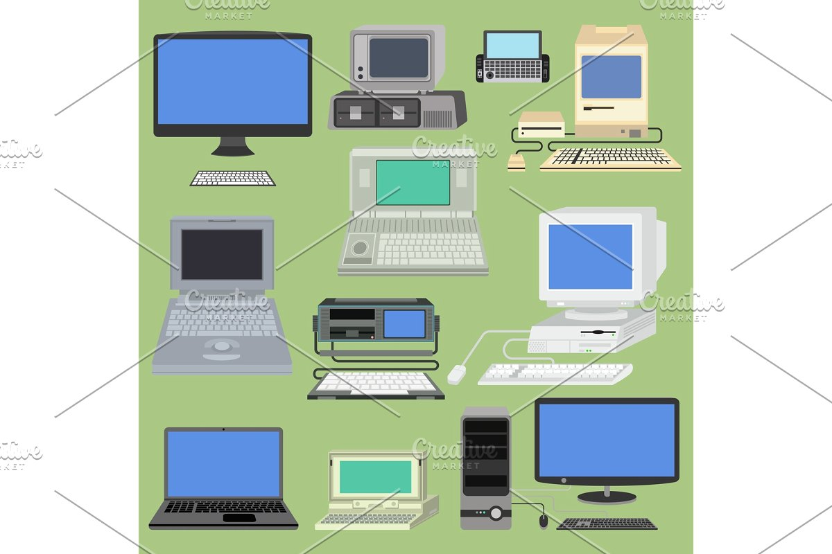 jpg black and white download Old retro vintage pc. Vector computer screen