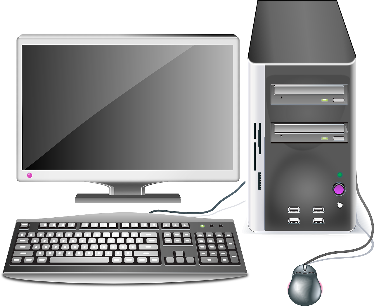 free library Vector computer setup. Pc clipart many cute
