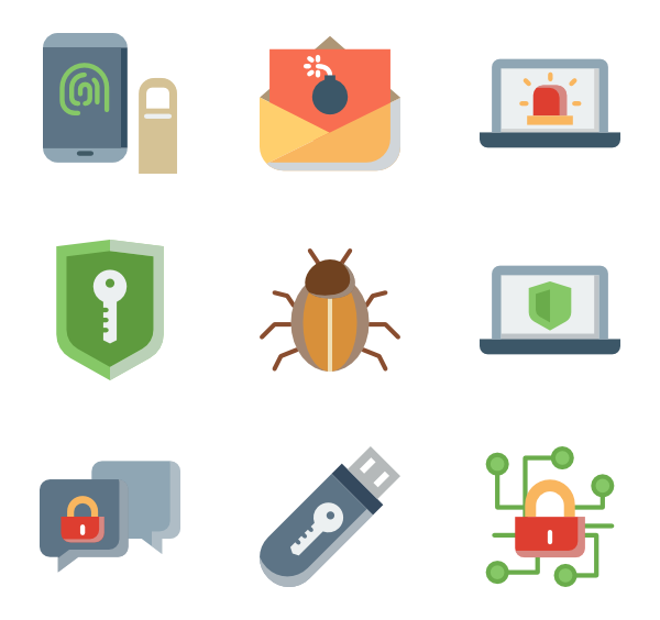 clip art freeuse Icons free security collection. Vector computer setup