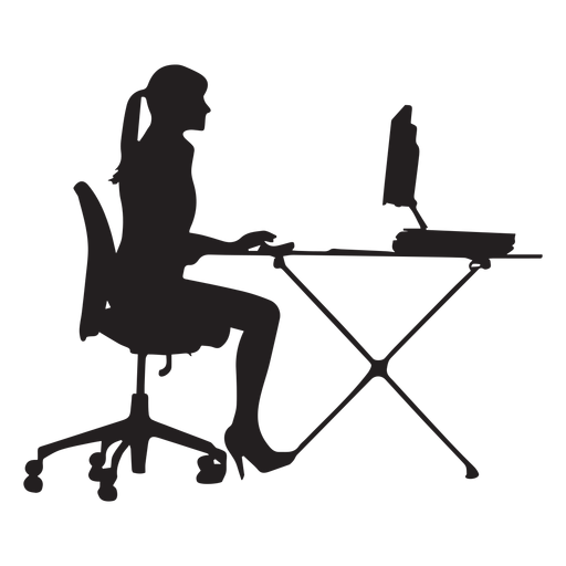 library Woman sitting at desk. Vector computer silhouette