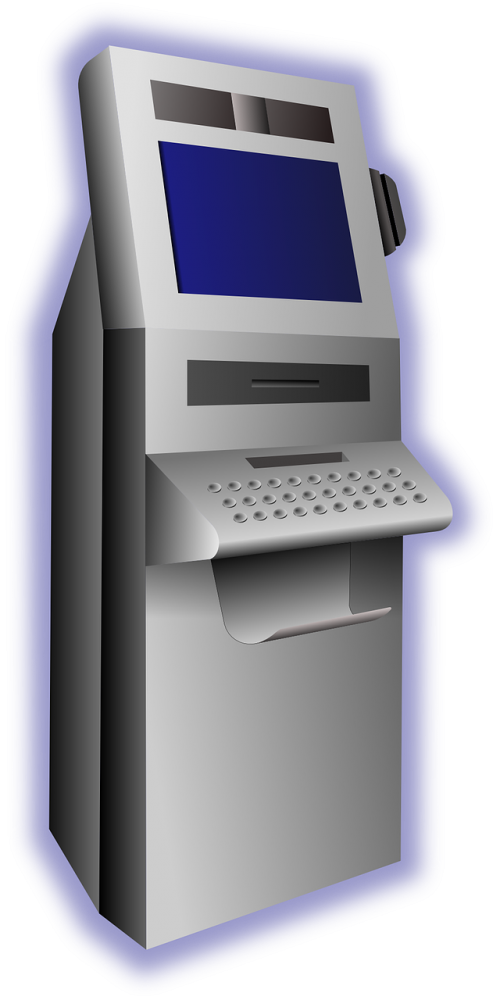 png black and white download Vector computer terminal. Atm withdraw money free