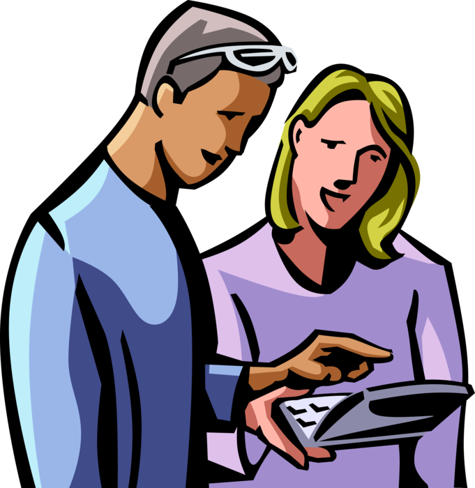 jpg royalty free download Colleagues check online information. Vector computer woman
