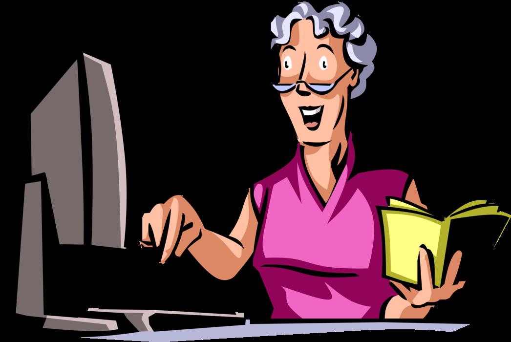 jpg download Vector computer woman. Senior citizen follows instructions