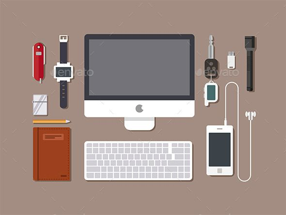 banner download Vector computer workspace. Office top view of