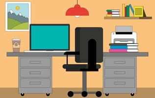 svg royalty free library Vector computer workspace. Desk free art downloads