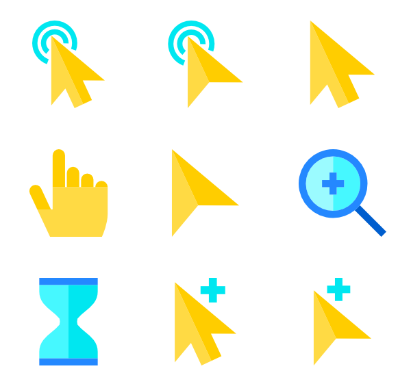 png black and white library Mouse cursor icons free. Vector computer yellow