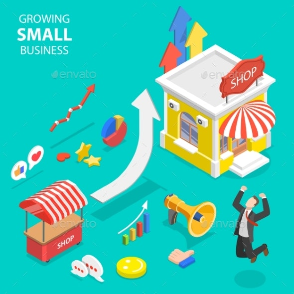 clipart free Isometric concept of small. Vector concepts flat
