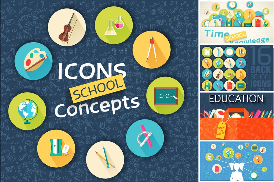 picture library library Back to school concept. Vector concepts icons