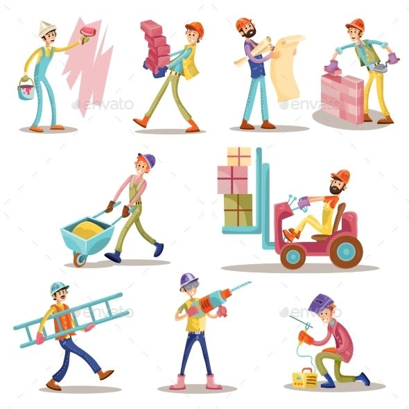 jpg royalty free download Vector constructors builder. Construction workers cartoon funny