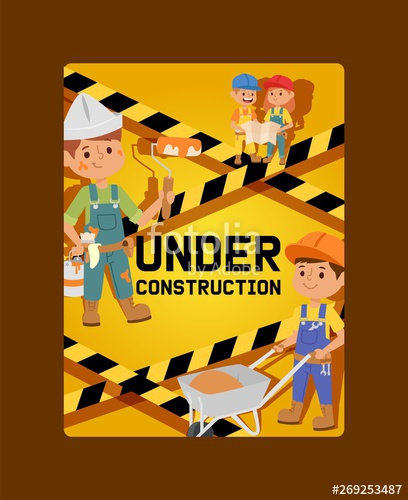 clipart stock Under construction constructor children. Vector constructors builder