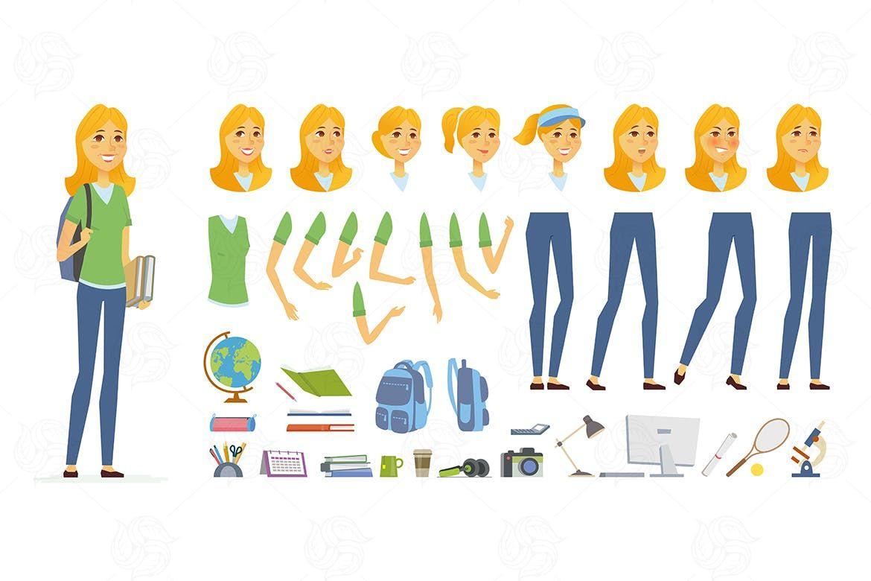 clip free download Student cartoon people character. Vector constructors illustration