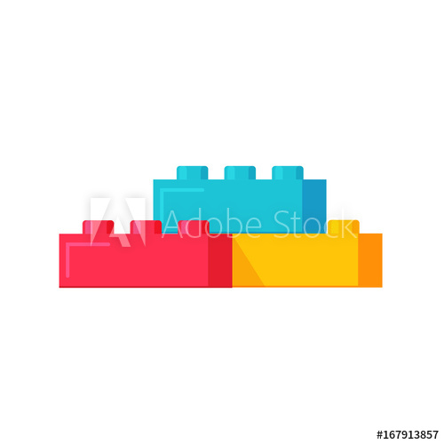 banner black and white Blocks constructor toys flat. Vector constructors illustration