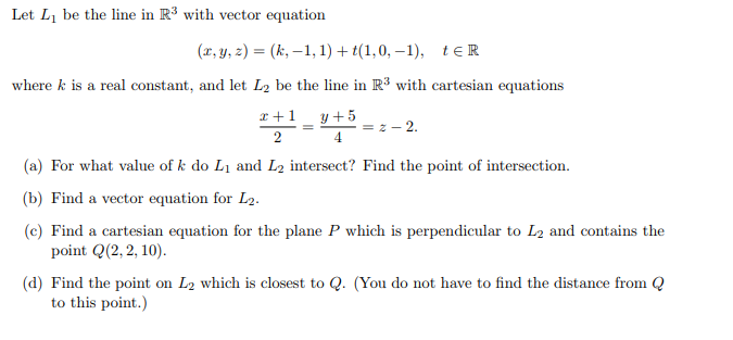 picture stock Solved let l be. Vector contains equation