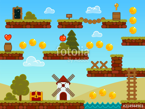 graphic royalty free library Vector contains game. Platformer assets ground tiles