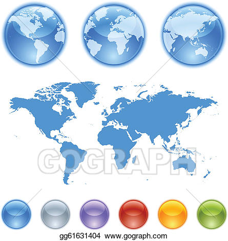 royalty free stock Clip art earth globes. Vector contains globe