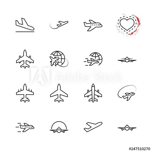 graphic download Vector contains plane. Set of line icon