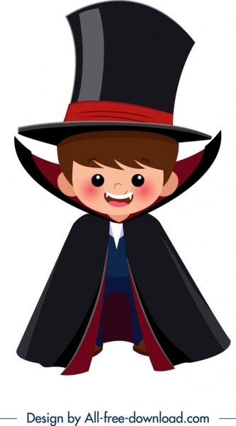 banner library Vector costume cartoon. Halloween template dracula boy